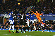 Leicester City Goalkeeper Kasper Schmeichel punches the ball clear. Premier league match, Everton v Leicester City at Goodison Park in Liverpool, Merseyside on Wednesday 31st January 2018.<br /> pic by Chris Stading, Andrew Orchard sports photography.
