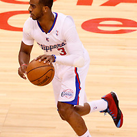 11 May 2014: Los Angeles Clippers guard Chris Paul (3) dribbles during the Los Angeles Clippers 101-99 victory over the Oklahoma City Thunder, during Game Four of the Western Conference Semifinals of the NBA Playoffs, at the Staples Center, Los Angeles, California, USA.