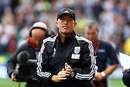 West Bromwich Albion Manager Tony Pulis looks on prior to kick off. Barclays Premier League match, Stoke city v West Bromwich Albion at the Britannia stadium in Stoke on Trent, Staffs on Saturday 29th August 2015.<br /> pic by Chris Stading, Andrew Orchard sports photography.