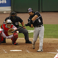 21 July 2007:  Colorado Rockies catcher Yorvit Torrealba (8) in action against the Washington Nationals.  The Nationals defeated the Rockies 3-0 at RFK Stadium in Washington, D.C.  ****For Editorial Use Only****