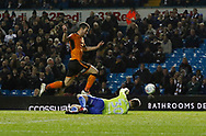 Leeds United goalkeeper Bailey Peacock-Farrell saves from  Wolverhampton Wanderers forward Leo Bonatini during the EFL Sky Bet Championship match between Leeds United and Wolverhampton Wanderers at Elland Road, Leeds, England on 7 March 2018. Picture by Paul Thompson.