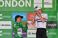 Katarzyna Niewiadoma (POL) (left) riding for WM3 Pro Cycling celebrates becoming overall winner with Hannah Barnes (GBR) riding for Canyon/SRAM Racing  winning third place overall at the  OVO Energy Women's Tour, London Stage, at Regent Street, London, United Kingdom on 11 June 2017. Photo by Martin Cole.
