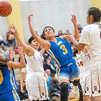 Zuni Thunderbird Alexis Leekela (3) has a ball knocked away during a shot attempt in the District 1-3A girls tournament at Rehoboth High School Thursday.