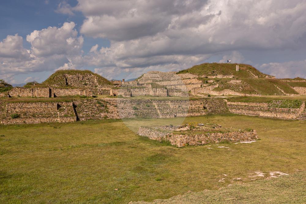 The Grand Plaza looking west of Monte Albán pre-Columbian archaeological site in the Santa Cruz Xoxocotlán, Oaxaca, Mexico.