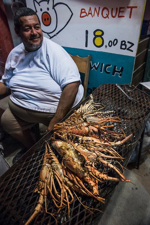 Lobster for sale<br /> Restaurant<br /> Caye Caulker<br /> Ambergris Caye<br /> Belize<br /> Central America