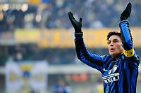 """Javier ZANETTI Inter Esultanza<br /> Verona 6/1/2010 Stadio """"Bentegodi""""<br /> Chievo Verona - Inter 0-1<br /> Campionato Italiano Serie A 2009/2010<br /> Foto Andrea Staccioli Insidefoto"""