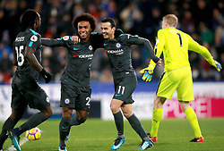 Chelsea's Rodriguez Pedro celebrates scoring his sides third goal during the Premier League match at the John Smith's Stadium, Huddersfield.