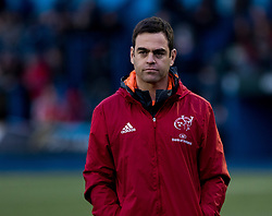 Munster's Head Coach Johann van Graan during the pre match warm up<br /> <br /> Photographer Simon King/Replay Images<br /> <br /> Guinness PRO14 Round 15 - Cardiff Blues v Munster - Saturday 17th February 2018 - Cardiff Arms Park - Cardiff<br /> <br /> World Copyright © Replay Images . All rights reserved. info@replayimages.co.uk - http://replayimages.co.uk