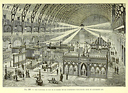 Nighttime overview of the electricity exhibition, Paris, France, From the Book Les merveilles de la science, ou Description populaire des inventions modernes [The Wonders of Science, or Popular Description of Modern Inventions] by Figuier, Louis, 1819-1894 Published in Paris 1867