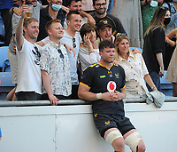 Rugby Union - 2020 / 2021 Gallagher Premiership - Round 22 - Wasps vs Leicester Tigers - Ricoh Stadium<br /> <br /> Will Rowlands of Wasps with his family, after playing his last game for the club<br /> <br /> Credit : COLORSPORT/Andrew Cowie