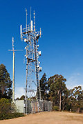 Antennas, lattice tower and base station equipment shelter 3 sector cellular  communications  mobile telephone system in New South Wales, Australia. <br /> <br /> Editions:- Open Edition Print / Stock Image