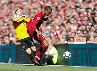 Football - 2018 / 2019 Premier League - Liverpool vs. Wolverhampton Wanderers <br /> <br /> Joel Matip of Liverpool vies with Diogo Jota of Wolverhampton Wanderers, at Anfield<br /> <br /> COLORSPORT/BRUCE WHITE