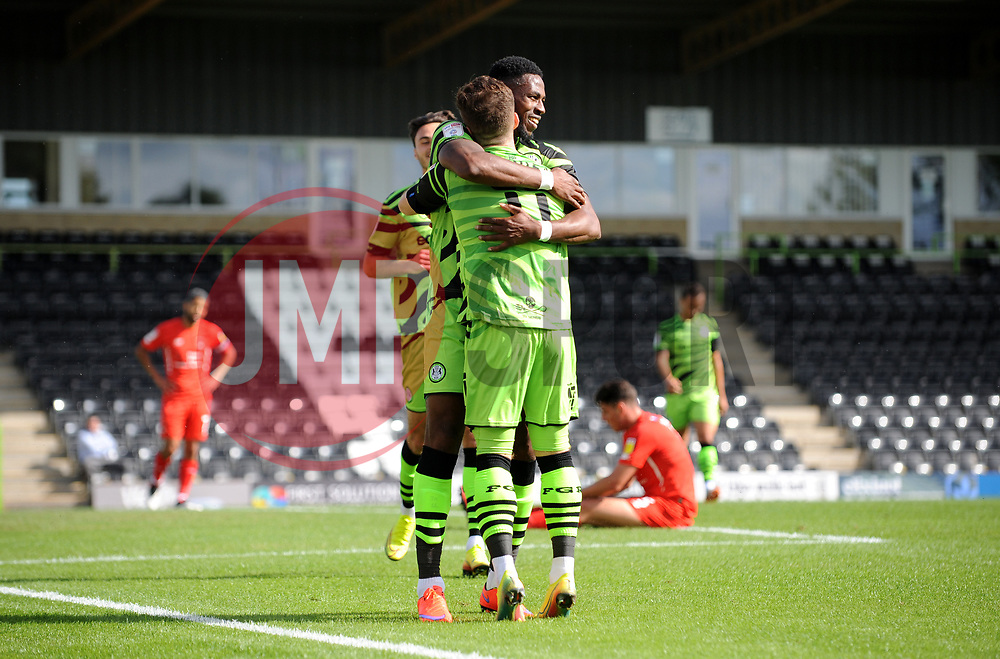 Nicky Cadden of Forest Green Rovers celebrates his goal with Jamille Matt of Forest Green Rovers- Mandatory by-line: Nizaam Jones/JMP - 05/09/2020 - FOOTBALL - New Lawn Stadium - Nailsworth, England - Forest Green Rovers v Leyton Orient - Carabao Cup