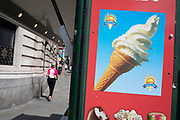 Kiosk selling ice cream advertises its whippy cones in London, United Kingdom.