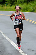 Carolyn Rodriguez during the run segment in the 2018 Hague Endurance Festival Sprint Triathlon