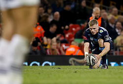 Cardiff Blues' Gareth Anscombe lines ups a kick at goal<br /> <br /> Photographer Simon King/Replay Images<br /> <br /> Guinness PRO14 Round 21 - Cardiff Blues v Ospreys - Saturday 28th April 2018 - Principality Stadium - Cardiff<br /> <br /> World Copyright © Replay Images . All rights reserved. info@replayimages.co.uk - http://replayimages.co.uk