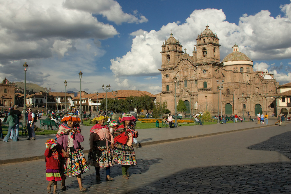 Cuzco, Peru, South America.  Plaza de Armas at night with Christian Cathedral in background; Cuzco city is a UNESCO World Heritage Site.