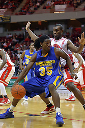 06 December 2008: Kenneth Faried backs in against Dinma Odiakosa during a game where the  Illinois State University Redbirds extended their record to 9-0 with a 76-70 win over the Eagles of Morehead State on Doug Collins Court inside Redbird Arena on the campus of Illinois State University in Normal Illinois