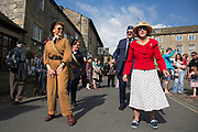 Grassington 1940s Weekend event held annually in the village Grassington in the Yorkshire Dales, England, UK. Local people join in with mass re-enactment commemorating World War II spirit with military and vintage clothing, military vehicles and dancing.