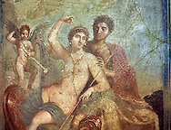 Roman fresco wall painting of the divine lovers Venus and Mars, one of the best paintings excavated from Pompeii, from the house of Venus and Mars (VII 9 47), inv 9248, Naples National Archaeological Museum .<br /> <br /> If you prefer to buy from our ALAMY PHOTO LIBRARY  Collection visit : https://www.alamy.com/portfolio/paul-williams-funkystock - Scroll down and type - Roman Fresco Naples  - into LOWER search box. {TIP - Refine search by adding a background colour as well}.<br /> <br /> Visit our ROMAN ART & HISTORIC SITES PHOTO COLLECTIONS for more photos to download or buy as wall art prints https://funkystock.photoshelter.com/gallery-collection/The-Romans-Art-Artefacts-Antiquities-Historic-Sites-Pictures-Images/C0000r2uLJJo9_s0