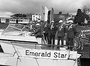 New Facilities At Emerald Star Line.   (R59)..1987..08.06.1987..06.08.1987..8th June 1987..the Minister for Transport and Tourism, Mr John Wilson TD opened a new Customer Service Facility at Emerald Star Line,Carrick on Shannon. Following the viewing of the facility and the planting of a commemorative tree, the Minister, accompanied by Mr Brian Slowey,Managing Director, Guinness,Ireland and Mr E H Bodell, Chairman, Emerald Star line departed on a cruise of The Shannon aboard an Emerald Star Cruiser...Image shows the Minister, John Wilson TD taking command of one of the Emerald Star Cruisers. On board are; Mr P J Ryan,M D,Emerald Star Line,Mr E H Bodell,Chairman Emerald Star Line, Mr Michael McDonnell,Asst Sec,dept of Tourism, Mr Brian Slowey, M D, Guinness Ireland,Deputy John Ellis,Chairman, Leitrim Co Council and Mr Paddy Doyle, County Manager.
