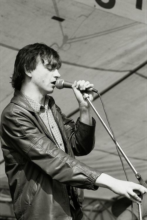 Mark E. Smith. The Fall play the GLC Festival in Brockwell Park, Brixton,London. Saturday June 4 1984.