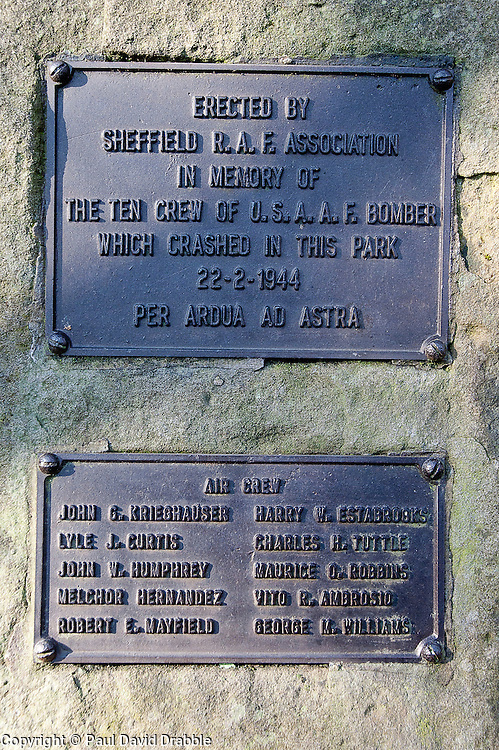 Inscriptions on the memorial to the crew of the crashed USAAF flying fortress Mi Amigo in Endcliff Park <br /> www.pauldaviddrabble.co.uk<br /> 19th February 2012<br /> Image © Paul David Drabble