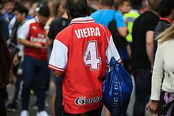 6 August 2017 -  FA Community Shield 2017 - Arsenal v Chelsea - A fan wearing a retro Patrick Viera shirt - Photo: Marc Atkins / Offside.