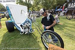 JP Rodman with the S&S Panhead trike that he and Jim Harper built at the Born Free 9 Motorcycle Show at Oak Creek Ranch. Silverado, CA. USA. Saturday June 24, 2017. Photography ©2017 Michael Lichter.