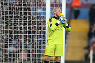 Kasper Schmeichel, the Leicester city goalkeeper looks on. Barclays Premier league match, Aston Villa v Leicester city at Villa Park in Birmingham, The Midlands on Saturday 16th January 2016.<br /> pic by Andrew Orchard, Andrew Orchard sports photography.