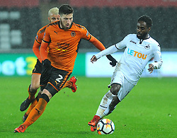 Nathan Dyer of Swansea City under pressure from Matt Doherty of Wolverhampton Wanderers -Mandatory by-line: Nizaam Jones/JMP- 17/01/2018 - FOOTBALL - Liberty Stadium- Swansea, Wales - Swansea City v Wolverhampton Wanderers - Emirates FA Cup third round proper
