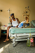 2016/05/29 - Barcelona, Venezuela: Jose Lemos has is leg stretched by plastic bottles that make weight in order to treat pacients with broken legs in Dr. Luis Razetti hospital in Barcelona. Jose Lemos was shooted on the leg during an assault attempt in the Caracas. (Eduardo Leal)