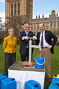 Barbara Frost, Andrew Mitchell MP and Matthew Frost. Marking World Water Day, over 40 MP's walked for water at Westminster, London at an event organised by WaterAid and Tearfund. Globally hundreds of thousands of people took part in the campaign to raise awareness of the world water crisis.