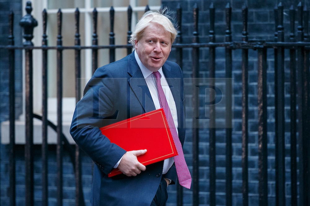 © Licensed to London News Pictures. 23/11/2016. London, UK. Foreign Secretary BORIS JOHNSON attends a cabinet meeting in Downing Street before the autumn statement announment on Wednesday, 23 November 2016. Photo credit: Tolga Akmen/LNP