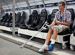 24.08.2011, UPC Arena, Graz, AUT, CL-Playoff, SK Sturm Graz vs. Bate Borisow, im Bild der verletzte Roman Kienast (SK Sturm Graz, #24, Forward), EXPA Pictures © 2011, PhotoCredit: EXPA/ Erwin Scheriau