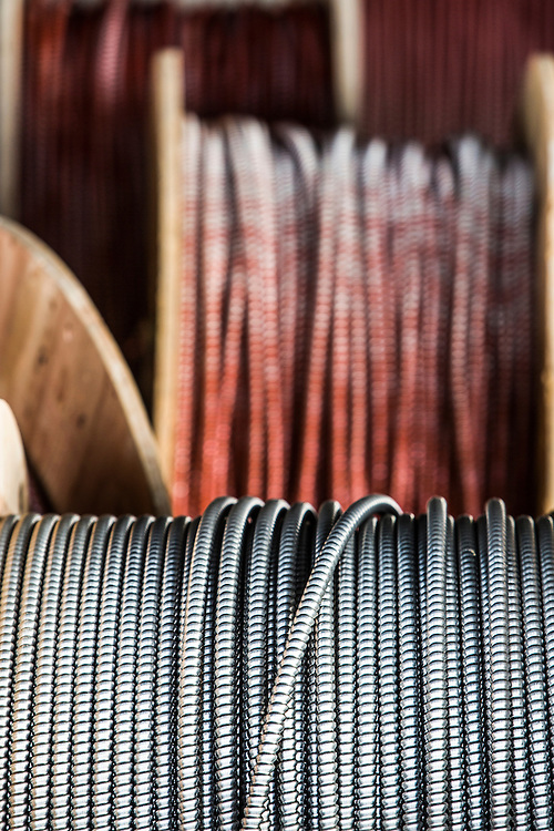Spools of electircal wire ready for commercial building
