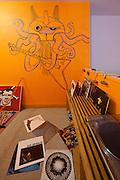 Fort Street Studio vintage Moroccan rugs, Robert Laughlin (Johnson Trading Gallery) painting, Kirk Van Wormer 'Chthulu Rock' painting, Chris Adamick 'Volume', Nixon TPS stereo, Margarita Mileva 'Grenada'