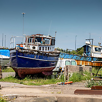 09/06/21 Boats along the River Feshney in the centre of Grimsby