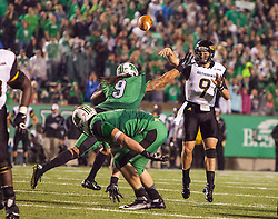 Oct 9, 2015; Huntington, WV, USA; Southern Miss Golden Eagles quarterback Nick Mullens throws a pass during the second quarter against the Marshall Thundering Herd at Joan C. Edwards Stadium. Mandatory Credit: Ben Queen-USA TODAY Sports