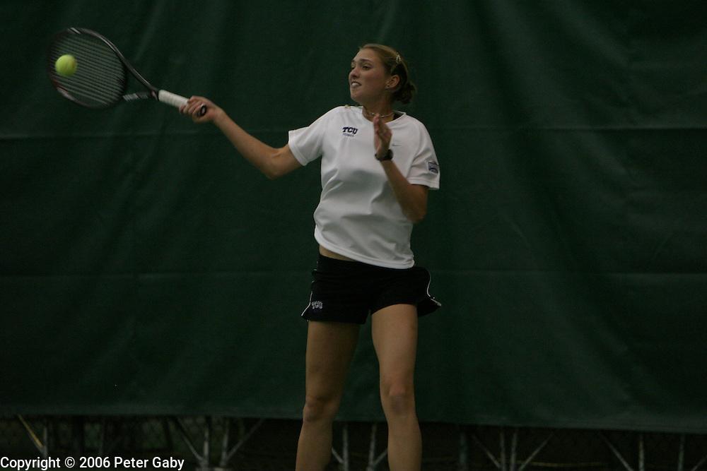 Tanya Markovic, North Carolina, vs. Kewa Nichols, TCU at the 19th Annual USTA/ITA National Women's Team Indoor Championships at the Nielsen Tennis Stadium in Madison, WI. Feb. 2-5, 2006