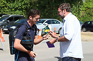 AFC Wimbledon defender Tyler Garratt (12) arriving during the EFL Sky Bet League 1 match between AFC Wimbledon and Coventry City at the Cherry Red Records Stadium, Kingston, England on 11 August 2018.