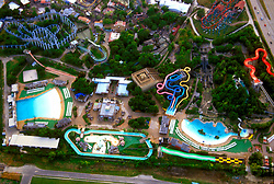 Stock photo of the aerial view of WaterWorld, adjacent to AstroWorld in Houston Texas