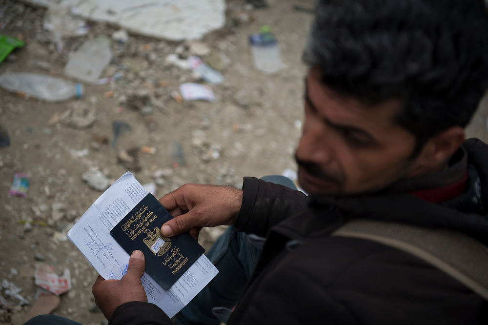 March 3, 2016, Idomeni, Greece. A refugee from Irak who hopes to get on a waiting list to cross the border with his papers. Only a few get through every day and can continue their journey to Western Europe.   12.000 refugees are stuck at the Idomeni border crossing in Greece  after Macedonia closed the border.  New arrivals come in every day, making living conditions difficult.(Steven Wassenaar/Polaris)