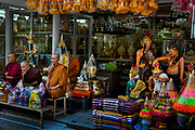 Assorted religious figures for sale. Situated in the heart of Bangkok, near the famous swing, is a series of streets and alleyways dedicated to the manufacture of Buddhist and Hindu icons together with other religious paraphernalia.