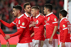 February 17, 2018 - Lisbon, Portugal - Benfica's Mexican forward Raul Jimenez (2ndR )  celebrates with teammates after scoring during the Portuguese League football match SL Benfica vs Boavista FC at the Luz stadium in Lisbon on February 17, 2018. (Credit Image: © Pedro Fiuza via ZUMA Wire)