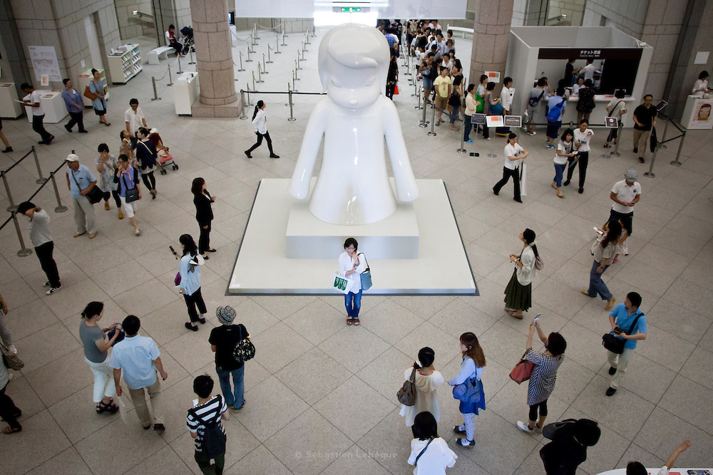 YOKOHAMA, JAPAN - 15 SEPTEMBER - Exhibition of the artist Yoshitomo NARA - A bit like you and me - displayed in the Yokohama Museum of art. His art works, pinting, sketching or sculpture have the capacitity to refert to any child we have in ourself . It is the second solo exhibition in Yokohama, first was in 2001 - I don't mind if you forget me - Definately, No-one did forget - September 2012