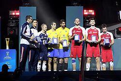 September 30, 2018 - Turin, Piedmont, Italy - The best players in the tournament in the various roles, awarded after the final match between Brazil and Poland for the FIVB Men's World Championship 2018 at Pala Alpitour in Turin, Italy, on 30 September 2018. Poland won 3: 0 and it is confirmed world champion. (Credit Image: © Massimiliano Ferraro/NurPhoto/ZUMA Press)