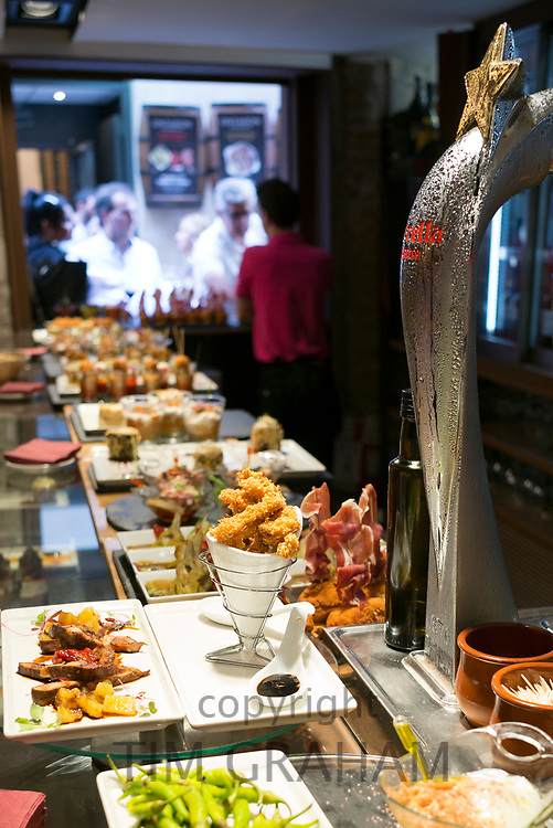 Spanish tapas, pintxos, in tapas bar restaurant, Logrono, Basque Country, Spain
