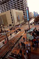 Stock photo of the aerial view of the Metro Light Rail tracks in downtown Houston Texas