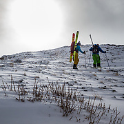 Kim Havell and Tanner Flanagan hike towards the goods in the Teton backcountry near Jackson Hole Mountain Resort.